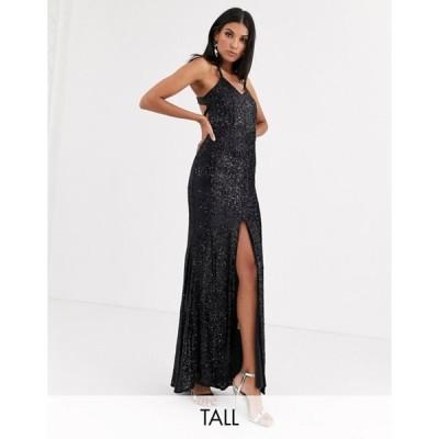 ジャーロトール レディース ワンピース トップス Jarlo Tall cami strap sequin gown with back detail in black