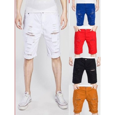 メンズ デニムパンツ 2020夏 ショートパンツ ジーンズ チノパン ボトムス ズボン 欧米風 ダメージ加工 カジュアル イケメン 2枚送料無料