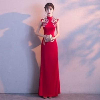 イブニングドレス 30代 40代 50代 ワイン ロングドレス 立ち襟 ノースリーブ パーティードレス ロング丈 キレイめ 宴会 結婚式 二次会