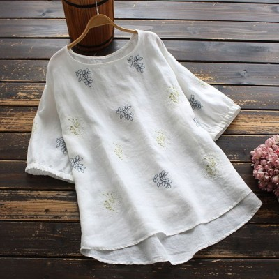 Tシャツ カットソー レディース 40代 きれいめ 春夏 麻 ボタニカル柄 刺繍 丸首 半袖 トップス j99776