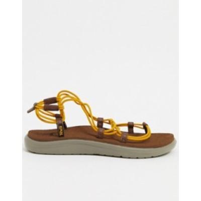 テバ レディース サンダル シューズ Teva Voya Infinity lace up sandals in stripe Sunflower/ bison