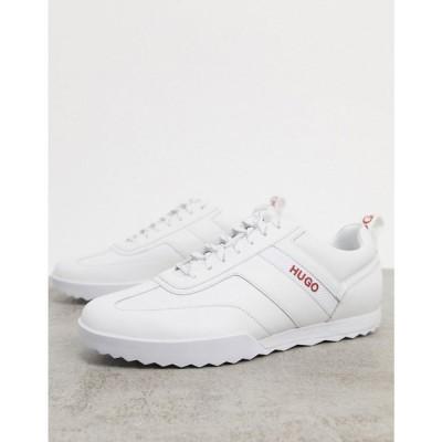 ヒューゴ ボス HUGO メンズ スニーカー シューズ・靴 Matrix Lowp Leather Trainers With Logo Detail In White ホワイト