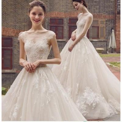 お花嫁 ドレス ウエディングドレス  ロングドレス  結婚式  白 ホワイト パーティー 二次会 プライダルドレス
