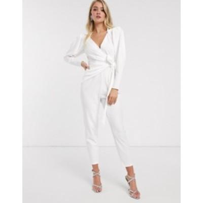 エイソス レディース ワンピース トップス ASOS DESIGN wrap front jumpsuit with shoulder pad detail White
