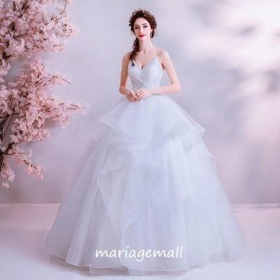 ウェディングドレス 白 二次会 大きいサイズ 結婚式 ブライダル パーティー 花嫁 ロングドレス 披露宴 プリンセス