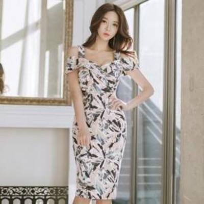 ドレス ワンピース ひざ下丈 花柄 20代 上品 きれいめ エレガント タイト 春夏 結婚式 お呼ばれ a606