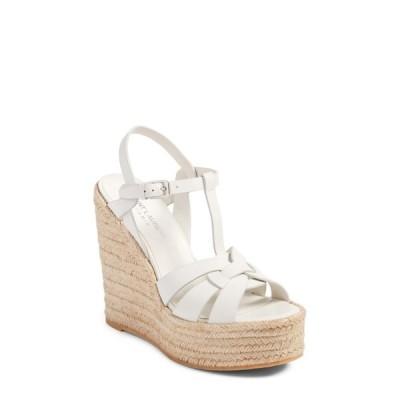 イヴ サンローラン SAINT LAURENT レディース エスパドリーユ ウェッジソール シューズ・靴 Tribute Espadrille Wedge White Leather