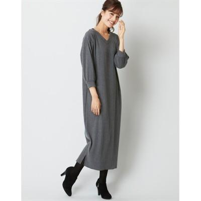 【大きいサイズ】 ゆるシルエットテレコリブカットソー7分袖ワンピース ワンピース, plus size dress