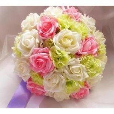 造花 バラ カーネーション ブーケ (ピンク ホワイト ライトグリーン)