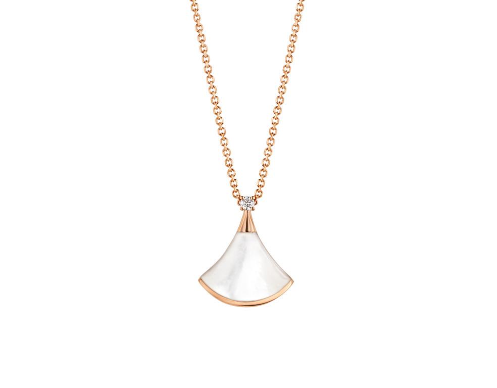 Divas' Dream 玫瑰金珍珠母貝鑽石項鍊