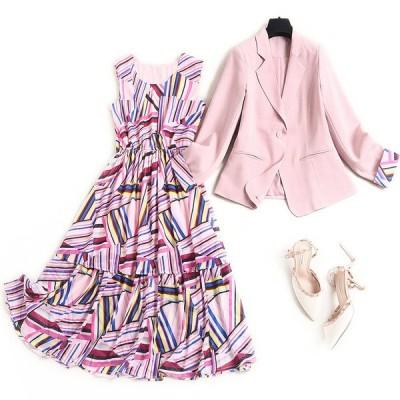 スーツ ツーピース ワンピーススーツ 式 ママ 母 入学式 入園式 卒業式 フォーマル ジャケット 幾何学模様 プリント