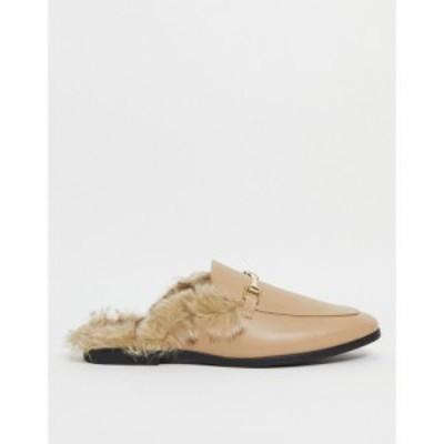 エイソス ASOS DESIGN メンズ ローファー ミュール かかとなし シューズ・靴 Backless Mule Loafer In Beige Faux Leather With Faux Fur