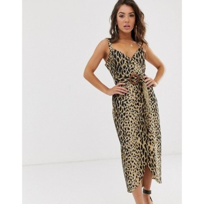 エイソス レディース ワンピース トップス ASOS DESIGN wrap maxi dress with buckle belt in leopard print