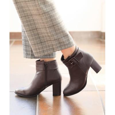 夢展望 / 7.5cm太ヒールベルトデザインショートブーツ WOMEN シューズ > ブーツ