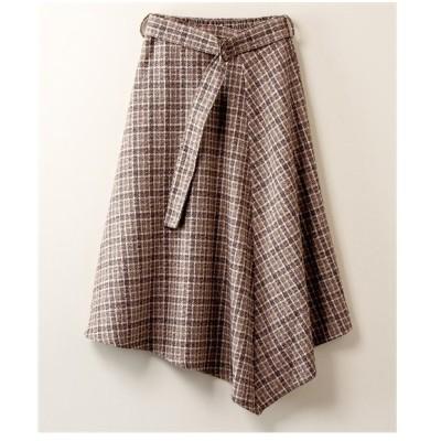 スカート ロング丈 マキシ丈 大きいサイズ レディース リングツイード フロントフリル CASSE  LL/3L ニッセン