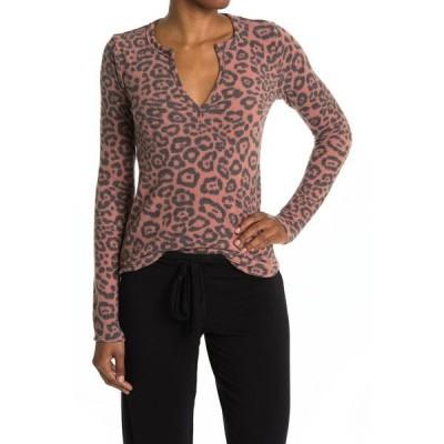 ソーシャライト レディース Tシャツ トップス Notch Split Neck Henley T-Shirt RUSTBLK AN