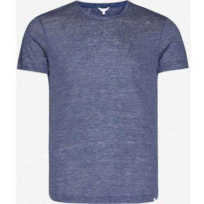 オールバー ブラウン ORLEBAR BROWN メンズ Tシャツ トップス Classic-fit linen T-shirt Navy Melange