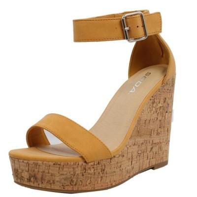 レディース 靴 サンダル Soda Women's Open Toe Ankle Strap Cork Platform Wedge