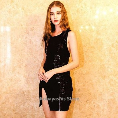 おしゃれブラック黒ノースリーブミニドレススリット背開きセクシーパーティードレス30代40代成人式お呼ばれキャバドレス