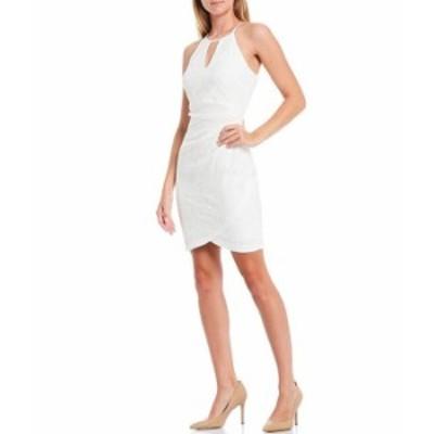 ゲス レディース ワンピース トップス Round Keyhole Neckline Lace Tulip Hem Cotton Blend Sleeveless Sheath Dress Ivory