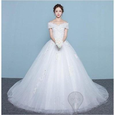 ウェディングドレス 結婚式  二次会 ホワイト  花嫁  ウェディング  プリンセスドレス  白ドレス  ロングドレス  トレーン 引き裾  披露宴  編み上げ