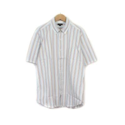 【中古】イルファーロ IL FARO COOLMAX シャツ ボタンダウン ストライプ L 白 ホワイト マルチカラー メンズ 【ベクトル 古着】