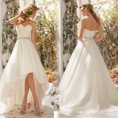 ウエディングドレス 安い トレーンドレス 前ミニ ウェディングドレス 結婚式 サッシュベルト 二次会 ロングドレス ブライダル 花嫁 パーティードレス 演奏会