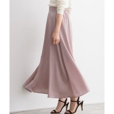 スカート サテンセミフレアスカート