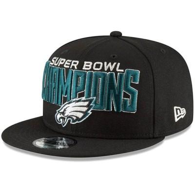 """メンズ キャップ """"Philadelphia Eagles"""" New Era Super Bowl LII Champions 9FIFTY Adjustable Snapback Hat - Black"""