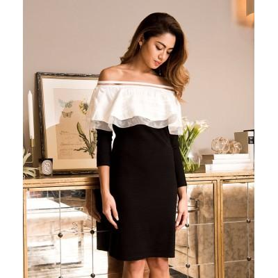 【ミリオンカラッツ】 ケープバイカラーワンピース[DRESS/ドレス] レディース ブラック M Million Carats