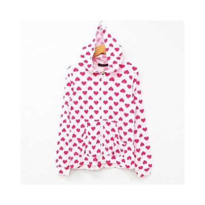 【中古】未使用品 Maple Charmy パーカー ルームウェア 長袖 ハートドット柄 パイル生地 フード付き 白 ピンク M  レディース 【ベクトル 古着】