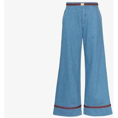 グッチ Gucci レディース ジーンズ・デニム ワイドパンツ ボトムス・パンツ trim detail wide leg jeans blue
