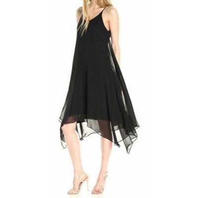 Sharagano  ファッション ドレス Sharagano Womens Black Size 14 Chiffon Slip V-Neck Shift Dress