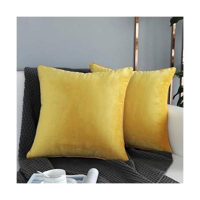 送料無料!QOPOYU ベルベット スロー枕カバー ソフト 無地 装飾正方形グリッドセット 2枚セット (中身な
