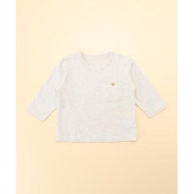 COMME CA FILLE/コムサ・フィユ ポケット付き長袖Tシャツ オートミール 70cm