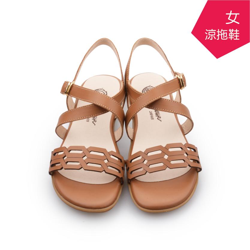 【A.MOUR 經典手工鞋】女涼拖鞋 - 棕(7369)