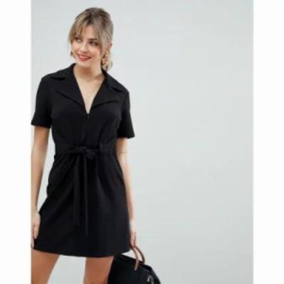 エイソス ワンピース belted 70s mini dress Black