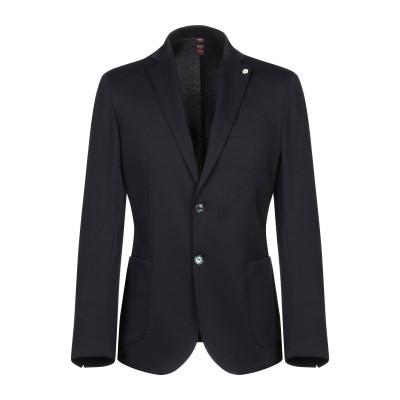 FB FASHION テーラードジャケット ダークブルー 50 コットン 65% / ナイロン 30% / ポリウレタン 5% テーラードジャケット