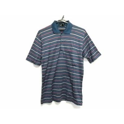 ダンヒル dunhill/ALFREDDUNHILL 半袖ポロシャツ メンズ - ブルー×ボルドー×グレー ボーダー【中古】20201010