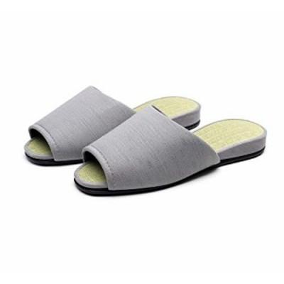 【新品・送料無料】日本製畳中スリッパ メンズ&レディース (グレー, L(約25cm~約27cm))