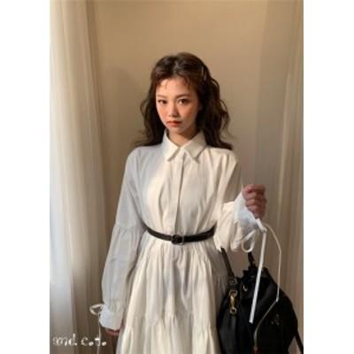ロングドレス ブラウス ホワイト ポロ襟 着痩せ フェミニン 春秋 韓国