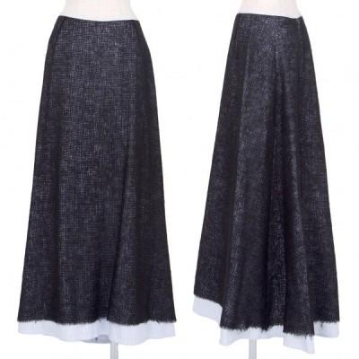ワイズY's ネットレイヤーストライプコットンスカート 黒白水色3 【レディース】