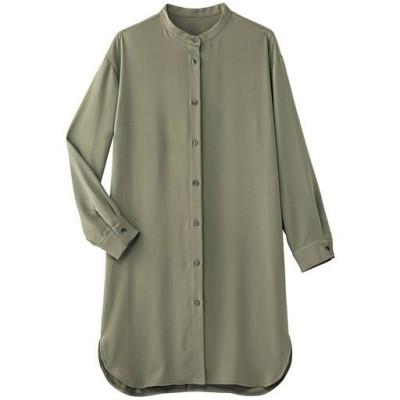 大人上品なロングシャツ/ライトカーキ/M