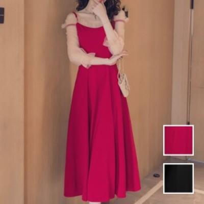 韓国 ファッション レディース ワンピース パーティードレス ロング マキシ 秋 冬 春 パーティー ブライダル naloI818 結婚式 お呼ばれド