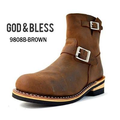 エンジニアブーツ メンズ ブーツ ブラウン 茶 本革 レザー ショートブーツ GOD&BLESS ゴッド&ブレス 送料無料