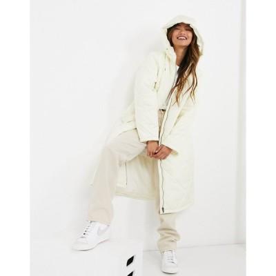 セレクテッド コート レディース Selected Femme quilted coat with hood in winter white エイソス ASOS ホワイト 白