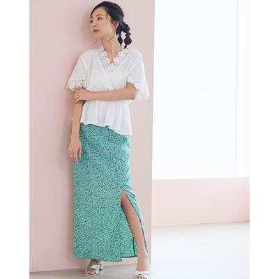 フラワーIラインスカート (グリーン)