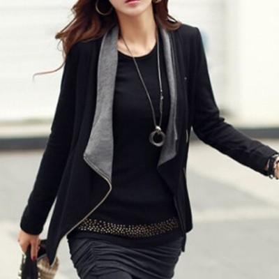 無地 ジャケット風 ジップアップ カーディガン 薄手 長袖 バイカラー カジュアル ボーイッシュ クール 小柄 小さいサイズ 小さい 服