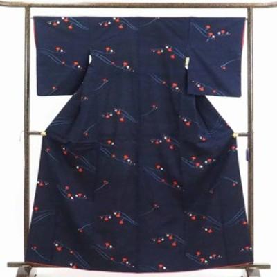 【中古】リサイクル着物 紬 / 正絹紺地袷真綿紬着物 / レディース【裄Mサイズ】(古着 リサイクル品 紬 )