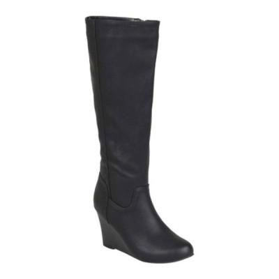 ジャーニーコレクション ブーツ&レインブーツ シューズ レディース Langly Wide Calf Wedge Heel Knee High Boot (Women's) Black Faux Leather